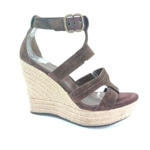 UGG Lauri Brown Suede Platform Wedge Sandals 8